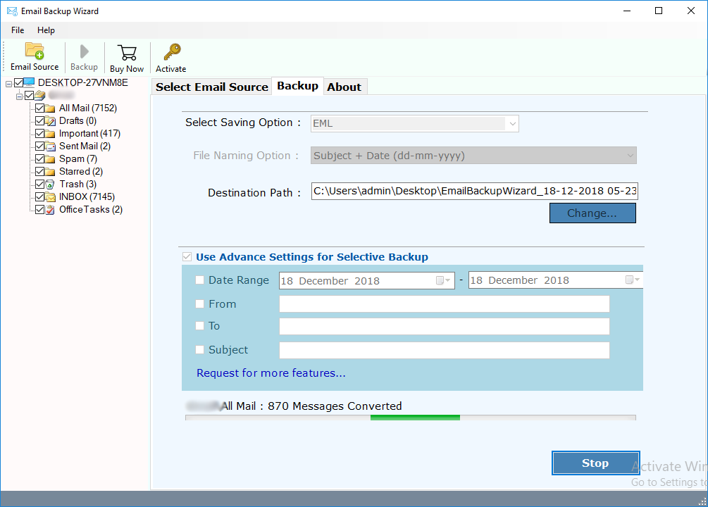 Comcast Mail Backup Tool - Archive/Migrate Comcast Email Folders to