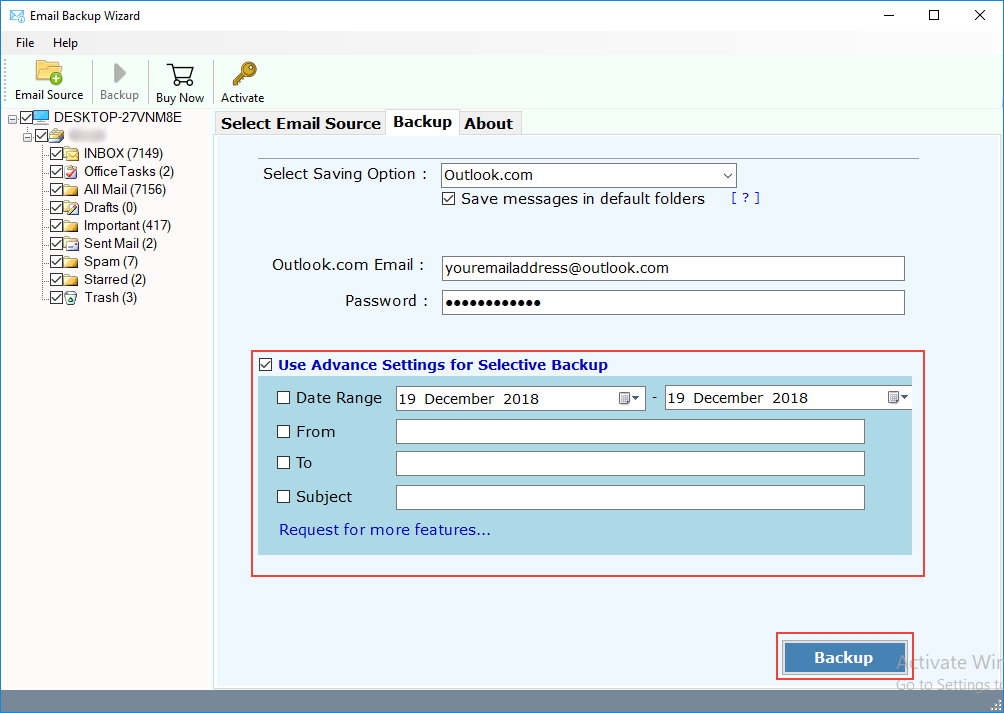 How to Import/Migrate Gmail to Outlook com to Transfer Gmail Emails