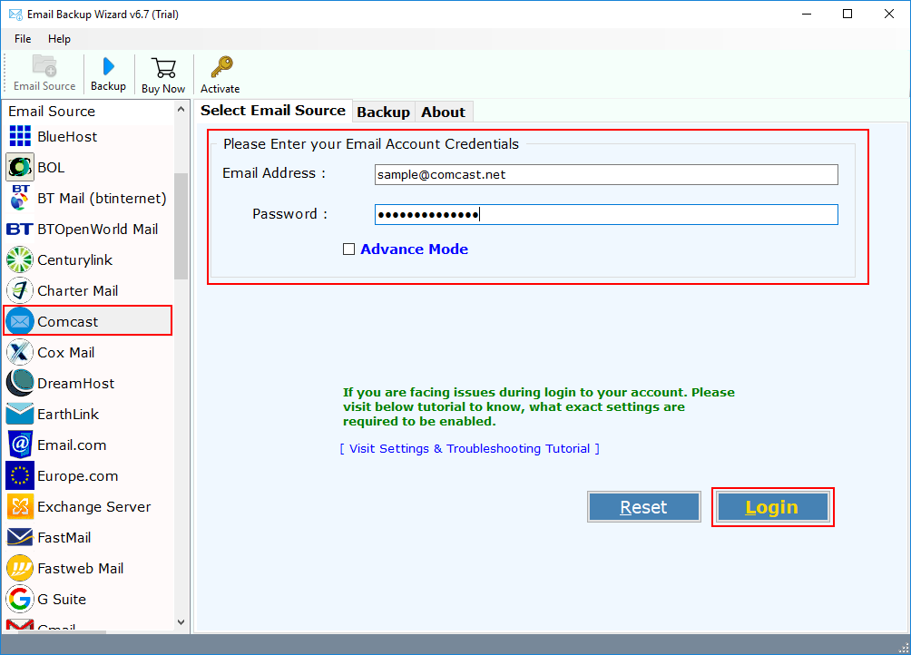 Comcast Mail Backup Tool - Archive/Migrate Comcast Email